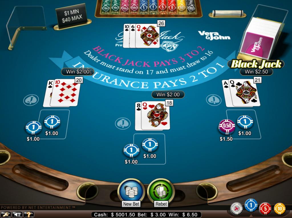 Vera&John(ベラジョンカジノ):ブラックジャック「Blackjack Pro」