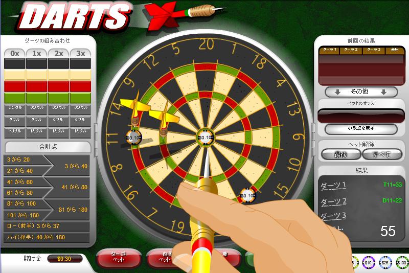 Wild jungle Casino(ワイルドジャングルカジノ):ダーツゲーム「DARTS(ダーツ)」