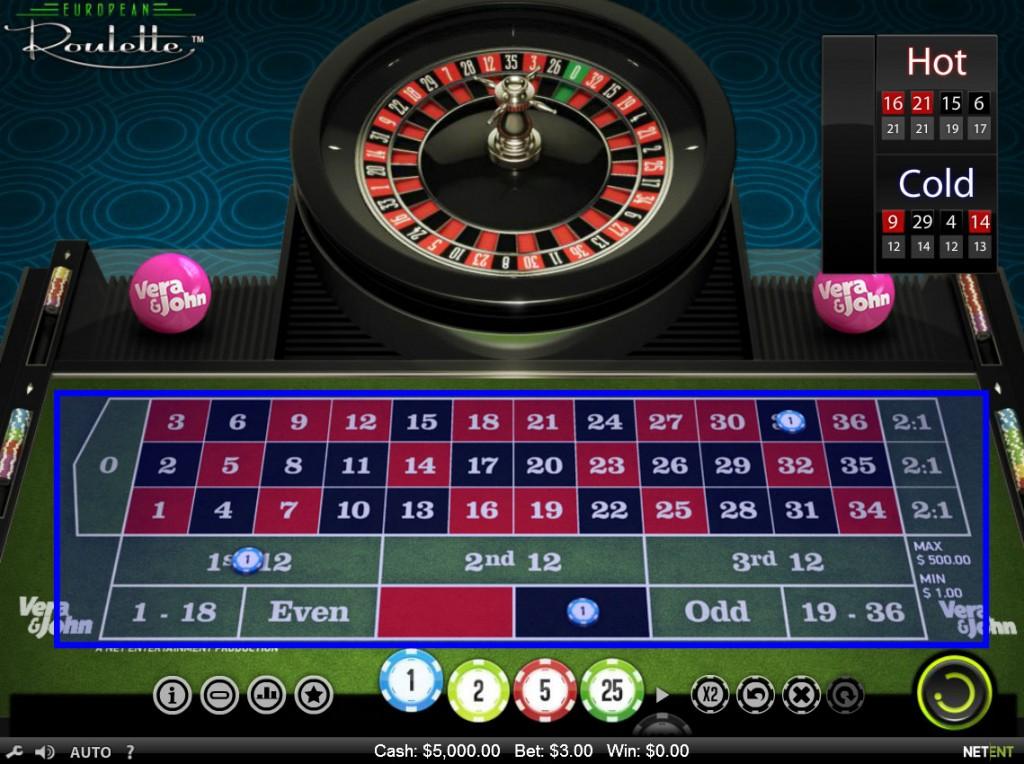 Vera&John(ベラジョンカジノ):ルーレット「European Roulette(ヨーロピアン ルーレット)」
