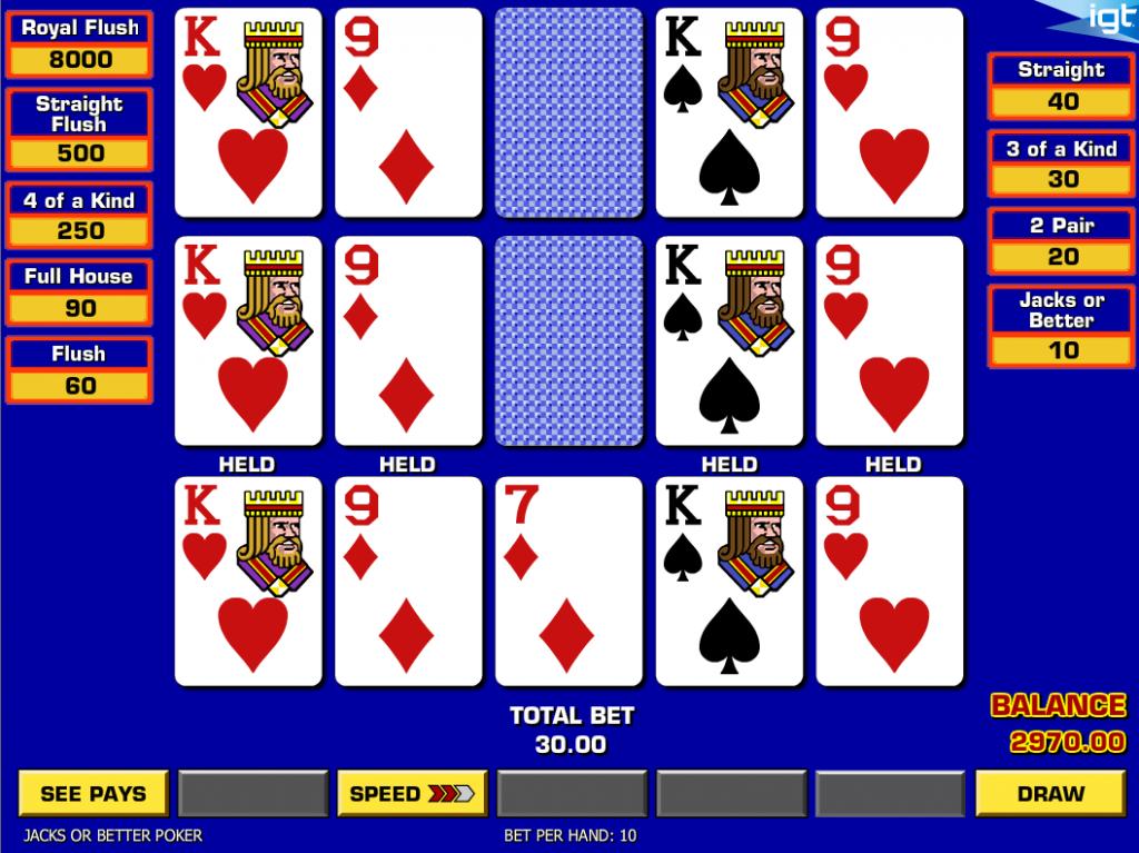 Vera&John(ベラジョンカジノ):ビデオポーカー「Triple Draw Poker(トリプル ドロウ ポーカー)」