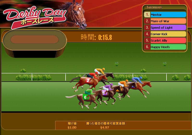 Wild jungle Casino(ワイルドジャングルカジノ):競馬ゲーム「ダービーデイ」