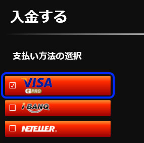 EMPIRE777(エンパイアカジノ):支払方法「VISA」